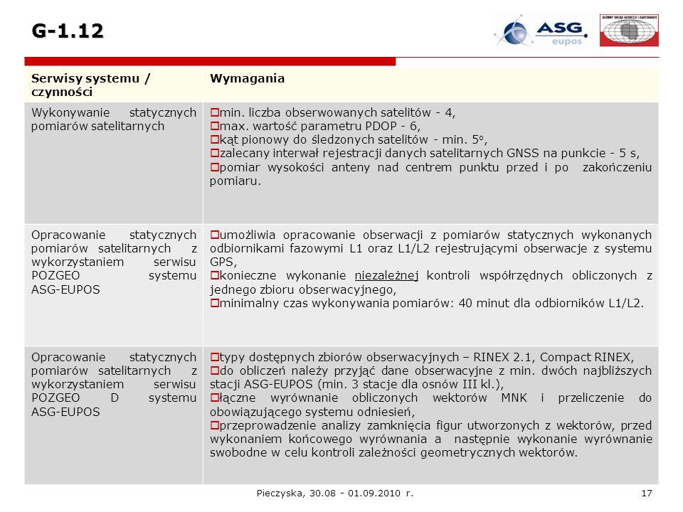 Pieczyska, 30.08 - 01.09.2010 r.17 G-1.12 Serwisy systemu / czynności Wymagania Wykonywanie statycznych pomiarów satelitarnych min. liczba obserwowany