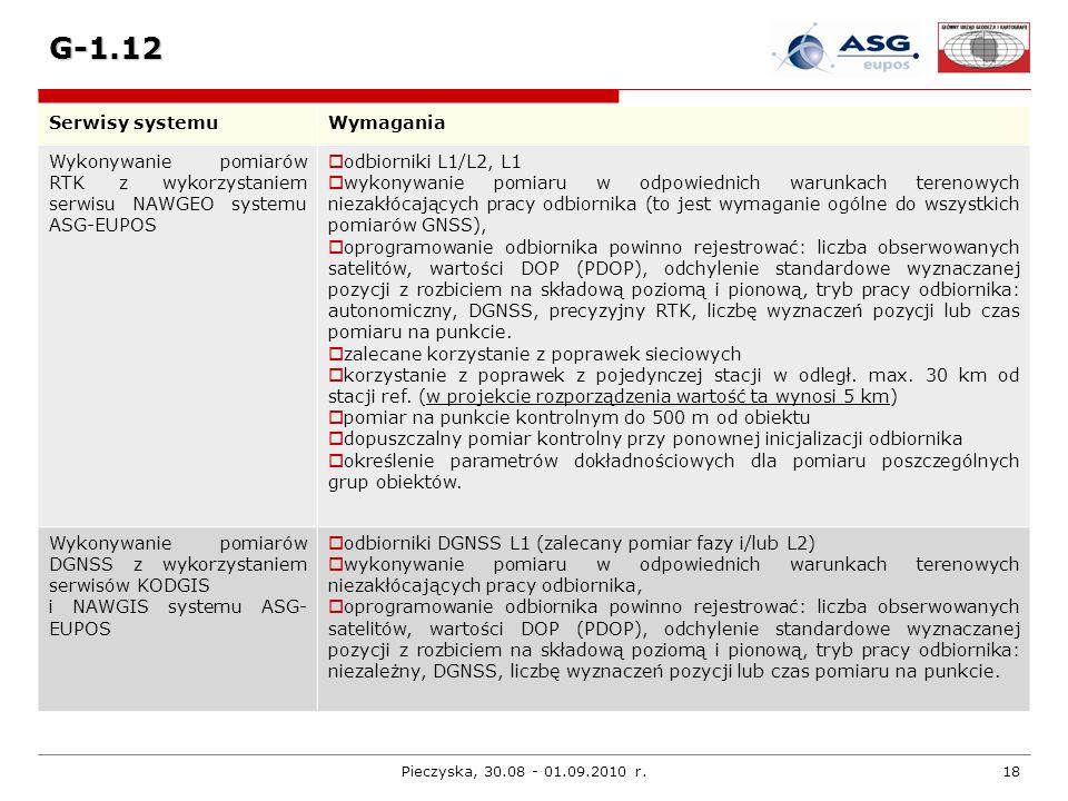 Pieczyska, 30.08 - 01.09.2010 r.18 G-1.12 Serwisy systemuWymagania Wykonywanie pomiarów RTK z wykorzystaniem serwisu NAWGEO systemu ASG-EUPOS odbiorni