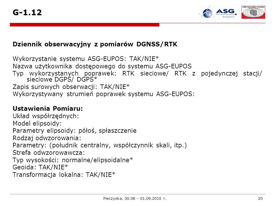 Pieczyska, 30.08 - 01.09.2010 r.20 G-1.12 Dziennik obserwacyjny z pomiarów DGNSS/RTK Wykorzystanie systemu ASG-EUPOS: TAK/NIE* Nazwa użytkownika dostę