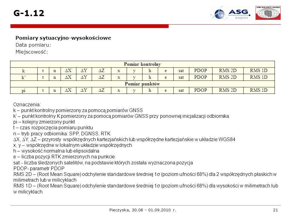 Pieczyska, 30.08 - 01.09.2010 r.21 G-1.12 Pomiary sytuacyjno-wysokościowe Data pomiaru: Miejscowość: Pomiar kontrolny k tnXYZxyhesatPDOPRMS 2DRMS 1D k