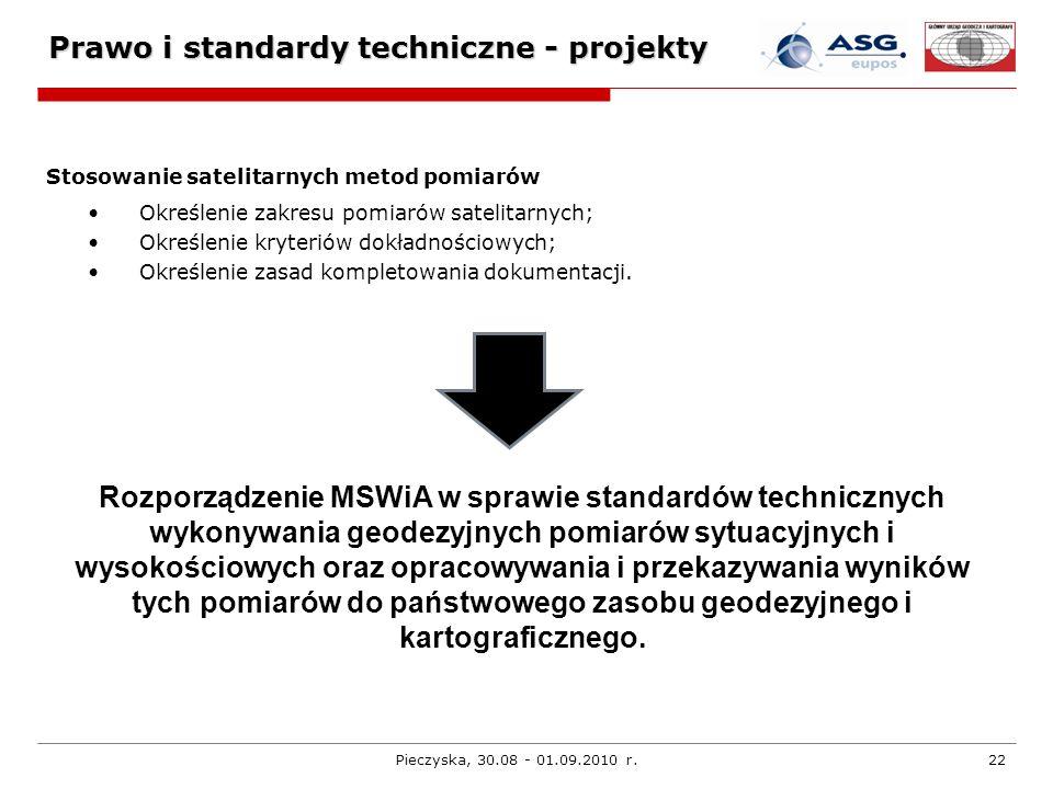 Pieczyska, 30.08 - 01.09.2010 r.22 Prawo i standardy techniczne - projekty Stosowanie satelitarnych metod pomiarów Określenie zakresu pomiarów satelit
