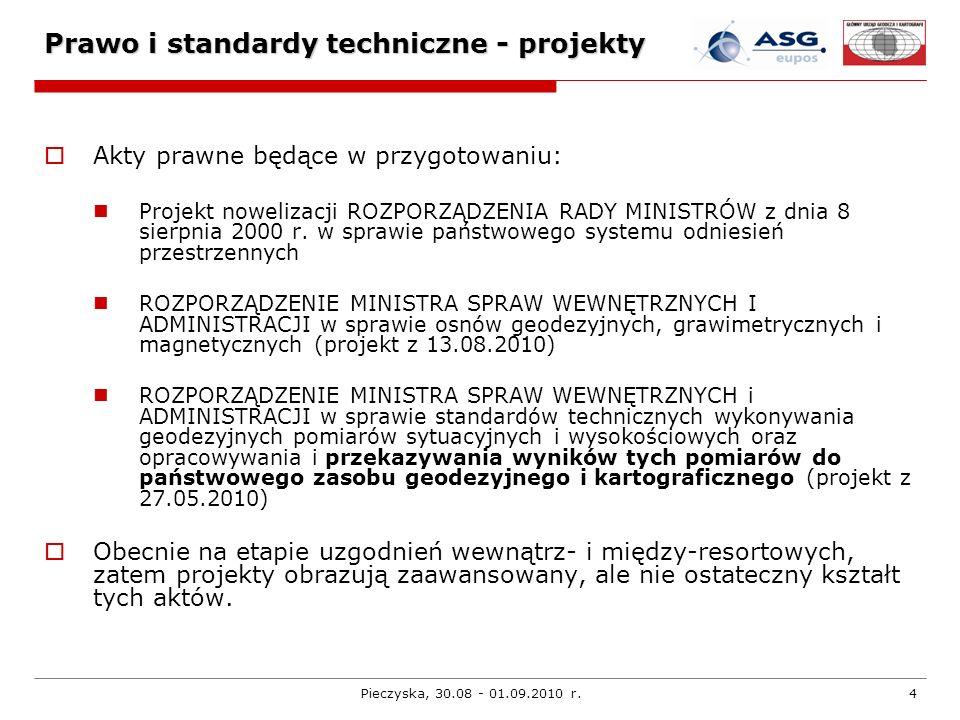 Pieczyska, 30.08 - 01.09.2010 r.5 Prawo i standardy techniczne - projekty ROZPORZĄDZENIE MINISTRA SPRAW WEWNĘTRZNYCH I ADMINISTRACJI w sprawie osnów geodezyjnych, grawimetrycznych i magnetycznych (projekt z 13.08.2010) Rozporządzenie wprowadza m.in.