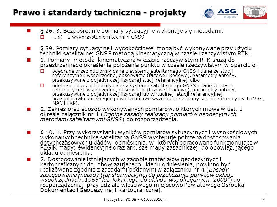 Pieczyska, 30.08 - 01.09.2010 r.18 G-1.12 Serwisy systemuWymagania Wykonywanie pomiarów RTK z wykorzystaniem serwisu NAWGEO systemu ASG-EUPOS odbiorniki L1/L2, L1 wykonywanie pomiaru w odpowiednich warunkach terenowych niezakłócających pracy odbiornika (to jest wymaganie ogólne do wszystkich pomiarów GNSS), oprogramowanie odbiornika powinno rejestrować: liczba obserwowanych satelitów, wartości DOP (PDOP), odchylenie standardowe wyznaczanej pozycji z rozbiciem na składową poziomą i pionową, tryb pracy odbiornika: autonomiczny, DGNSS, precyzyjny RTK, liczbę wyznaczeń pozycji lub czas pomiaru na punkcie.