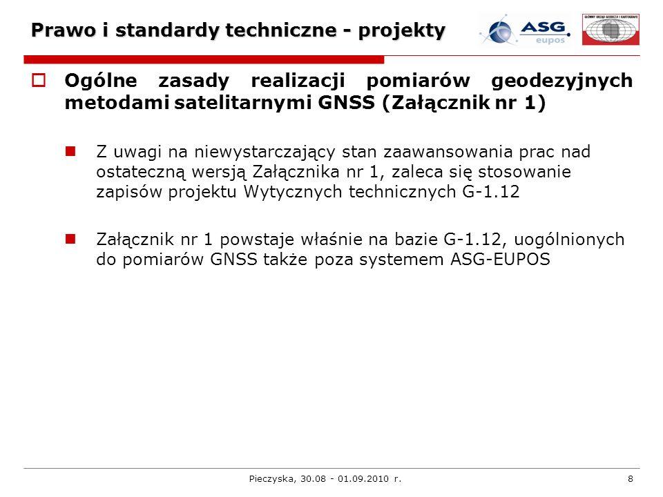 Pieczyska, 30.08 - 01.09.2010 r.8 Prawo i standardy techniczne - projekty Ogólne zasady realizacji pomiarów geodezyjnych metodami satelitarnymi GNSS (