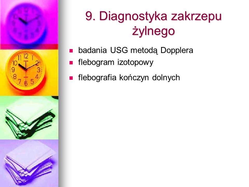 9. Diagnostyka zakrzepu żylnego badania USG metodą Dopplera flebogram izotopowy flebografia kończyn dolnych