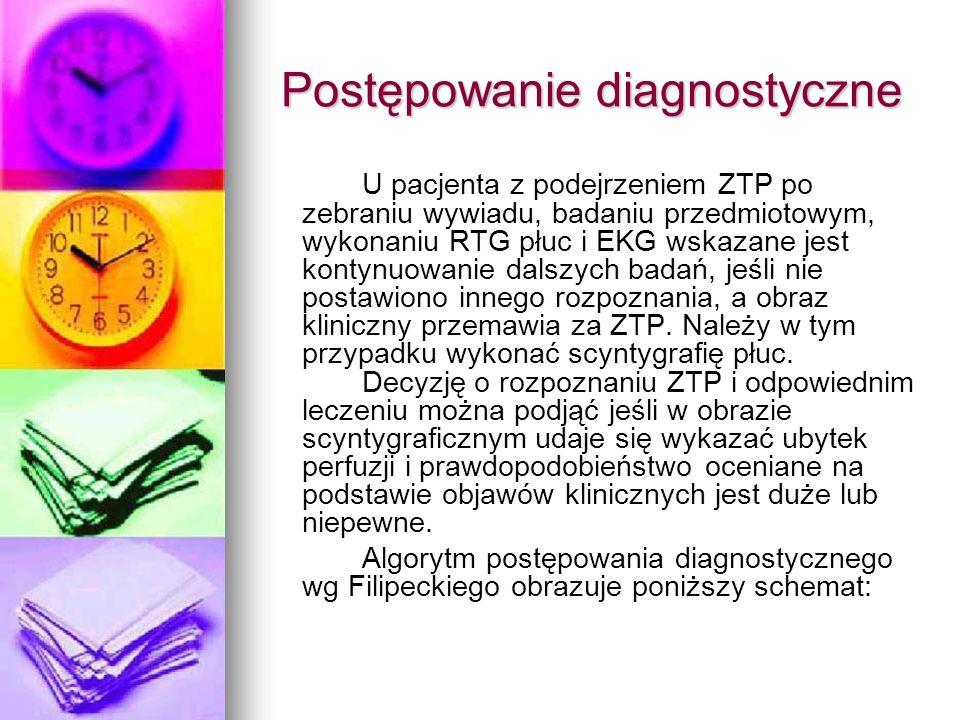 Postępowanie diagnostyczne U pacjenta z podejrzeniem ZTP po zebraniu wywiadu, badaniu przedmiotowym, wykonaniu RTG płuc i EKG wskazane jest kontynuowa