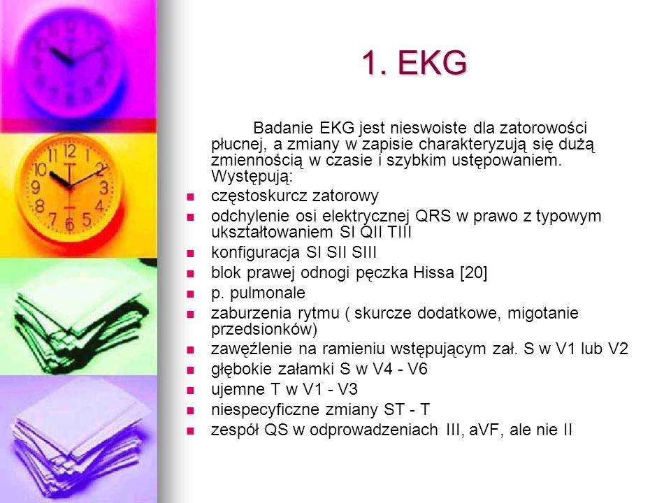 1. EKG Badanie EKG jest nieswoiste dla zatorowości płucnej, a zmiany w zapisie charakteryzują się dużą zmiennością w czasie i szybkim ustępowaniem. Wy