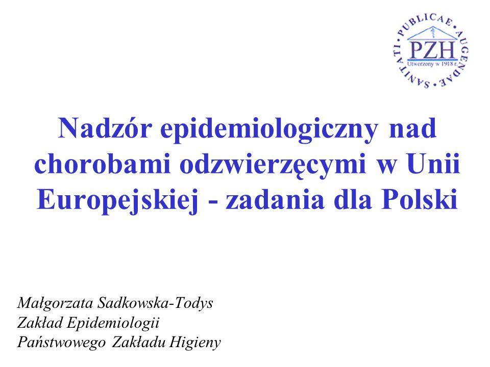 Nadzór epidemiologiczny nad chorobami odzwierzęcymi w Unii Europejskiej - zadania dla Polski Małgorzata Sadkowska-Todys Zakład Epidemiologii Państwowe
