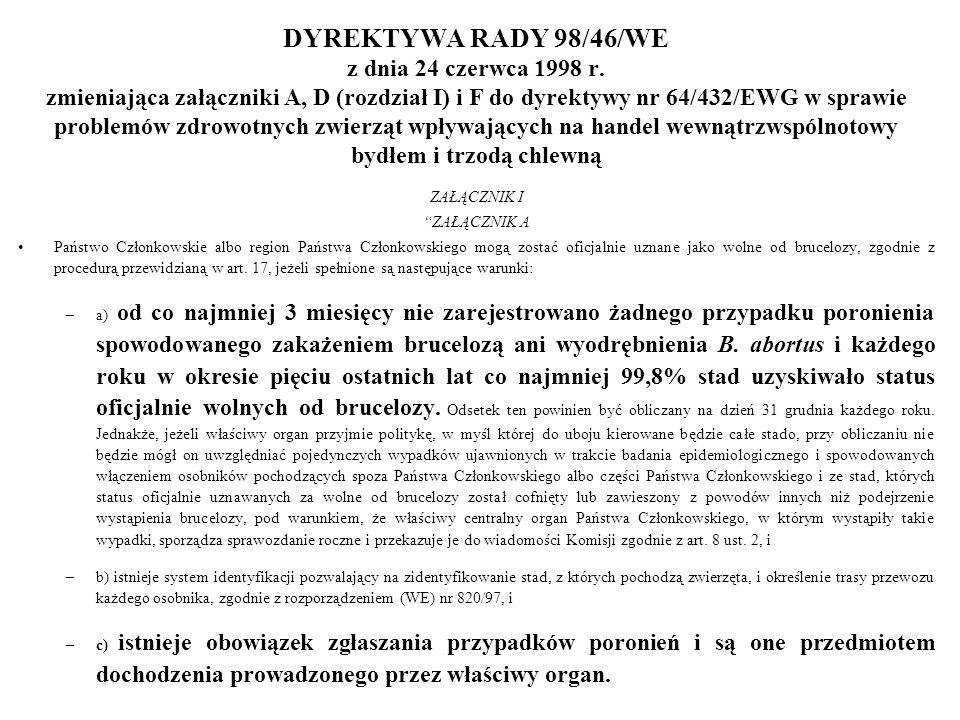 DYREKTYWA RADY 98/46/WE z dnia 24 czerwca 1998 r. zmieniająca załączniki A, D (rozdział I) i F do dyrektywy nr 64/432/EWG w sprawie problemów zdrowotn