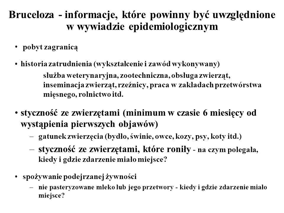 Bruceloza - informacje, które powinny być uwzględnione w wywiadzie epidemiologicznym pobyt zagranicą historia zatrudnienia (wykształcenie i zawód wyko
