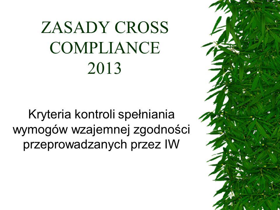 ZASADY CROSS COMPLIANCE 2013 Kryteria kontroli spełniania wymogów wzajemnej zgodności przeprowadzanych przez IW