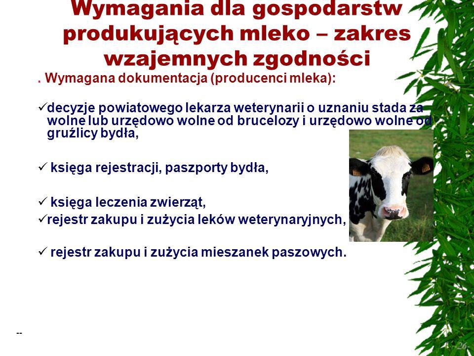 -- -26- Wymagania dla gospodarstw produkujących mleko – zakres wzajemnych zgodności.