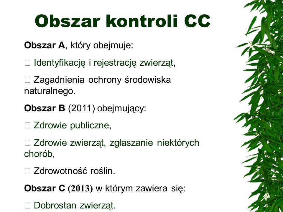 Obszar kontroli CC Obszar A, który obejmuje: Identyfikację i rejestrację zwierząt, Zagadnienia ochrony środowiska naturalnego.