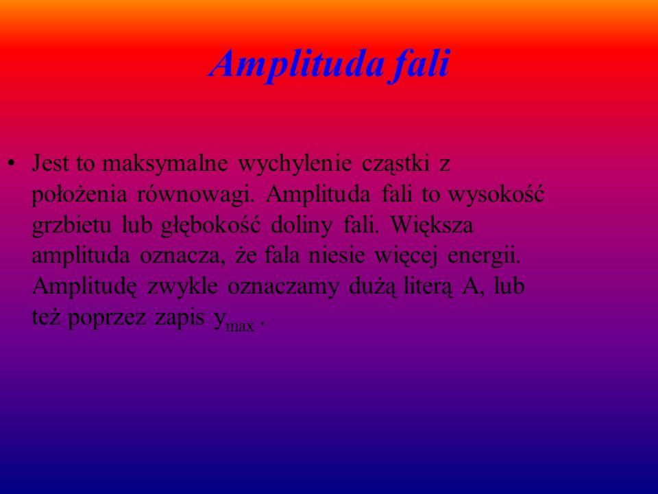 Amplituda fali Jest to maksymalne wychylenie cząstki z położenia równowagi.