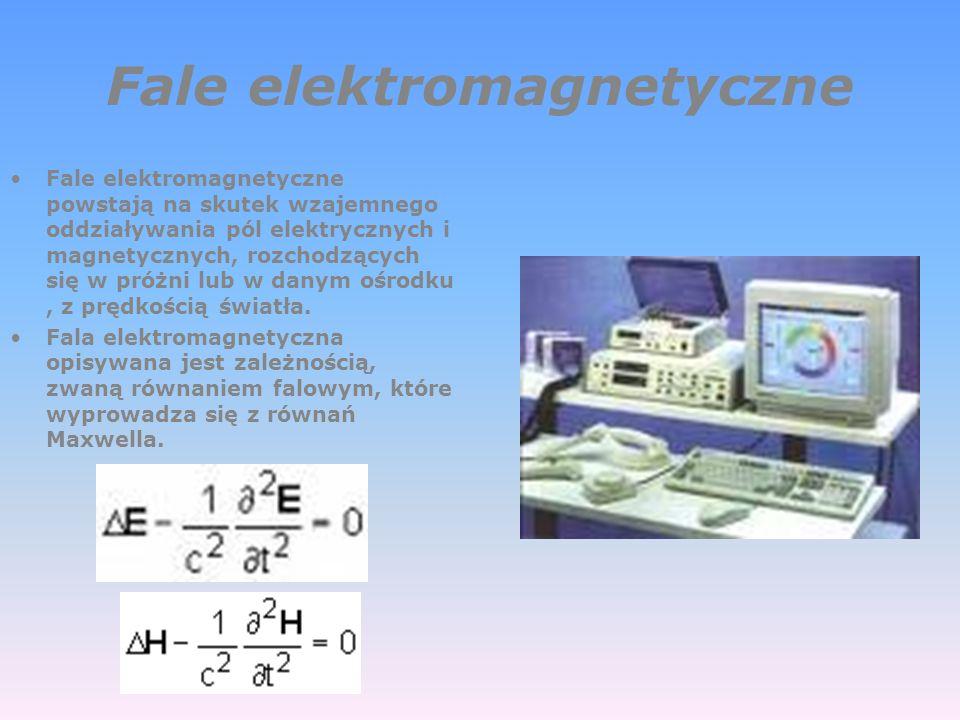 Fale elektromagnetyczne Fale elektromagnetyczne powstają na skutek wzajemnego oddziaływania pól elektrycznych i magnetycznych, rozchodzących się w próżni lub w danym ośrodku, z prędkością światła.