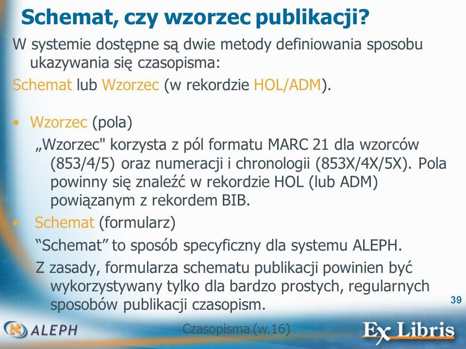 Czasopisma (w.16) 39 Schemat, czy wzorzec publikacji.