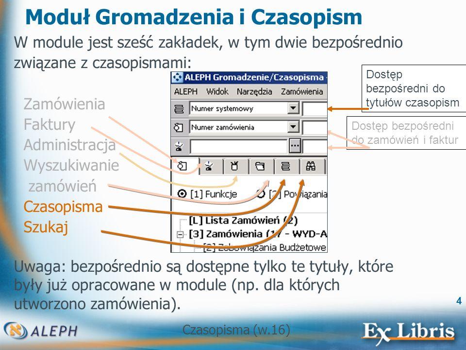 Czasopisma (w.16) 5 Moduł Gromadzenia i Czasopism Po otwarciu rekordu czasopisma w module Gromadzenia, wszystkie funkcje od zamówień po wpływ są dostępne na poszczególnych zakładkach.