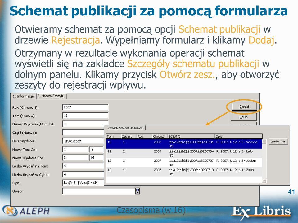 Czasopisma (w.16) 41 Schemat publikacji za pomocą formularza Otwieramy schemat za pomocą opcji Schemat publikacji w drzewie Rejestracja.