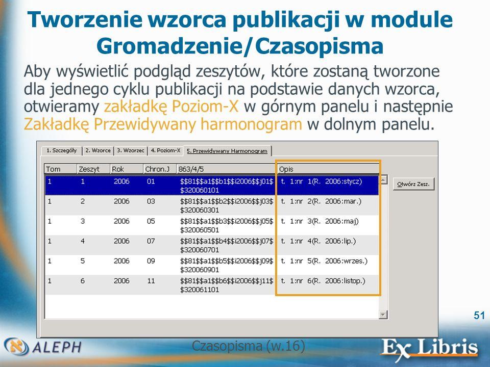 Czasopisma (w.16) 51 Tworzenie wzorca publikacji w module Gromadzenie/Czasopisma Aby wyświetlić podgląd zeszytów, które zostaną tworzone dla jednego cyklu publikacji na podstawie danych wzorca, otwieramy zakładkę Poziom-X w górnym panelu i następnie Zakładkę Przewidywany harmonogram w dolnym panelu.