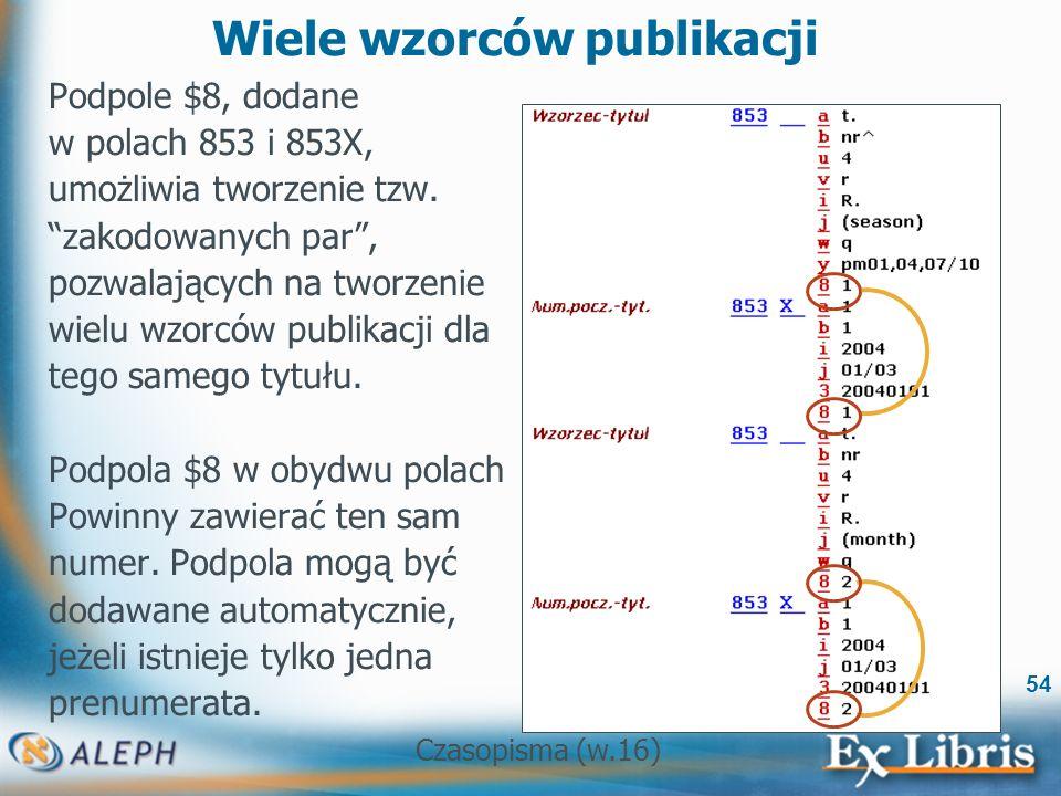 Czasopisma (w.16) 54 Wiele wzorców publikacji Podpole $8, dodane w polach 853 i 853X, umożliwia tworzenie tzw.