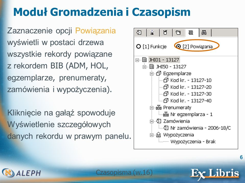 Czasopisma (w.16) 7 Pasek operacji (na dole ekranu) Lewa strona ekranu: komunikacja z serwerem.