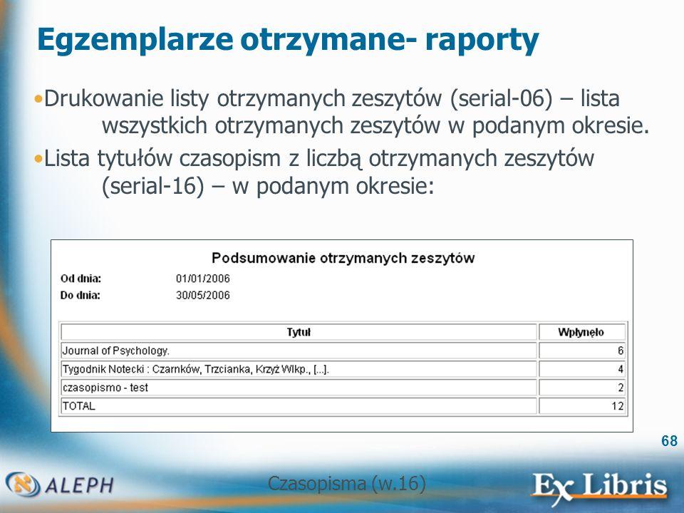 Czasopisma (w.16) 68 Egzemplarze otrzymane- raporty Drukowanie listy otrzymanych zeszytów (serial-06) – lista wszystkich otrzymanych zeszytów w podanym okresie.