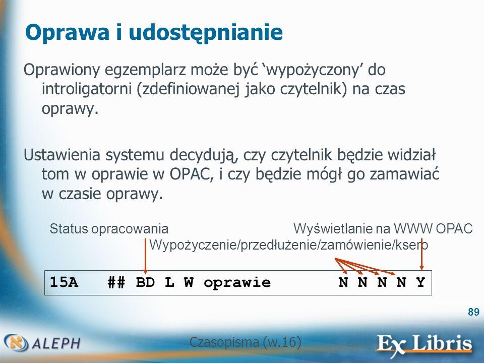 Czasopisma (w.16) 89 Oprawa i udostępnianie Oprawiony egzemplarz może być wypożyczony do introligatorni (zdefiniowanej jako czytelnik) na czas oprawy.