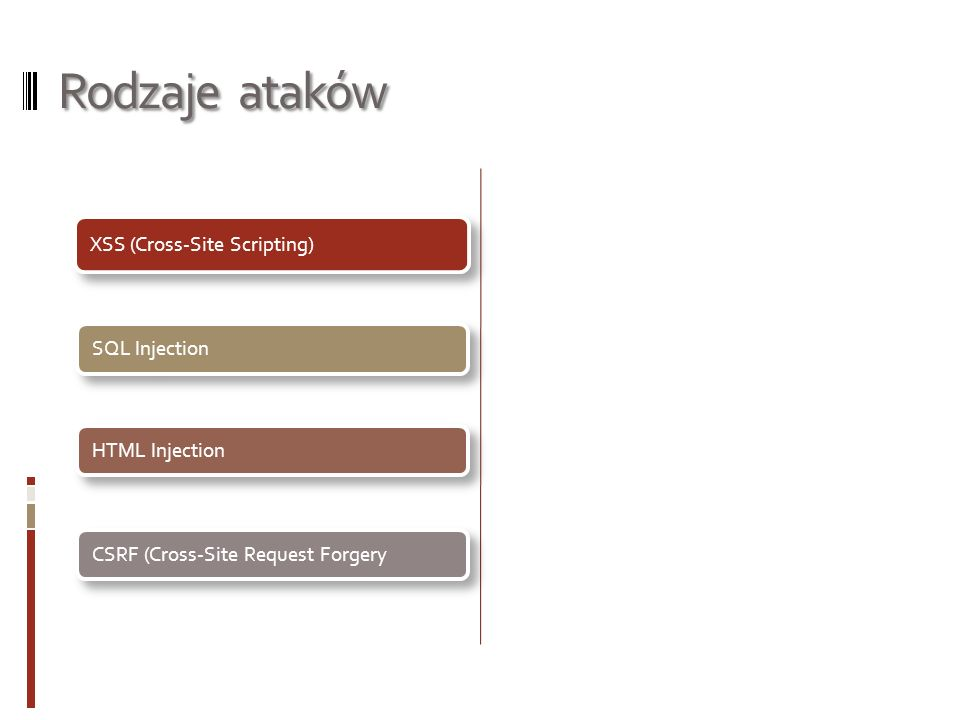 Rodzaje ataków XSS (Cross-Site Scripting) SQL InjectionHTML Injection CSRF (Cross-Site Request Forgery