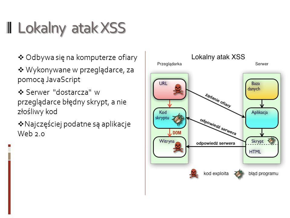 Proste próby ataku XSS Aby wykonać prosty atak XSS musimy zrobic/znac: Sprawdzenie podatności strony WWW na atak XSS Podstawowa znajomość JavaScript Szczęście