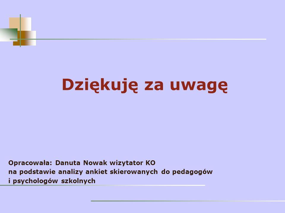 Dziękuję za uwagę Opracowała: Danuta Nowak wizytator KO na podstawie analizy ankiet skierowanych do pedagogów i psychologów szkolnych