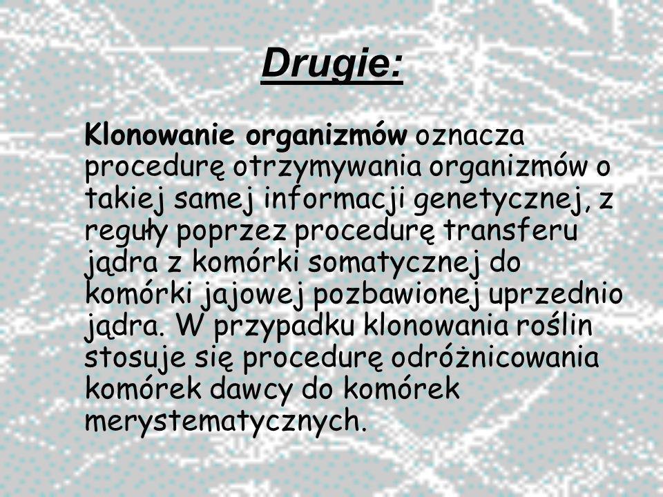 Drugie: Klonowanie organizmów oznacza procedurę otrzymywania organizmów o takiej samej informacji genetycznej, z reguły poprzez procedurę transferu ją