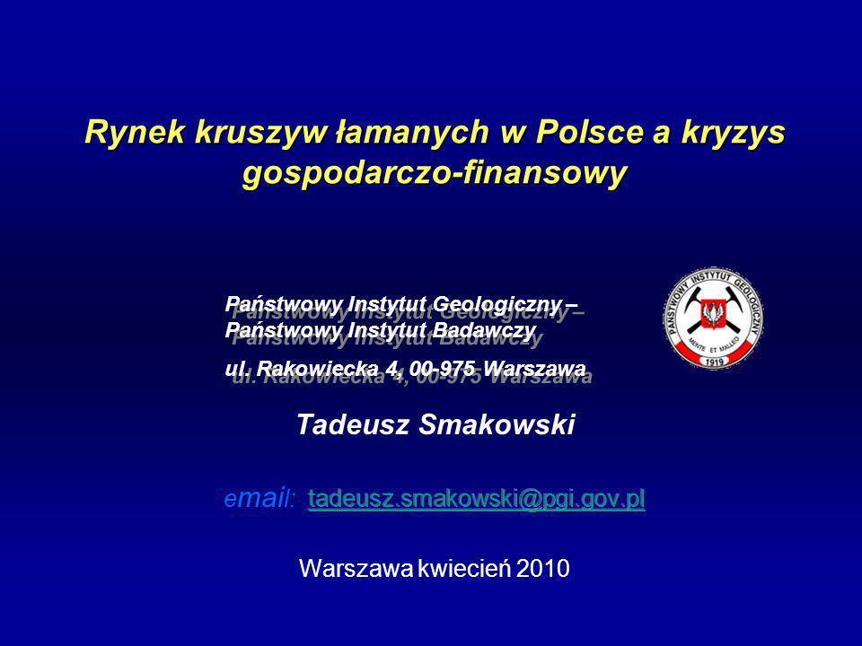 Rynek kruszyw łamanych w Polsce a kryzys gospodarczo-finansowy Państwowy Instytut Geologiczny – Państwowy Instytut Badawczy ul.