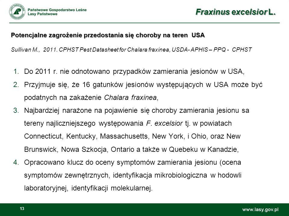 13 1.Do 2011 r. nie odnotowano przypadków zamierania jesionów w USA, 2.Przyjmuje się, że 16 gatunków jesionów występujących w USA może być podatnych n