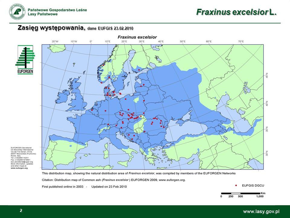 3 Zasięg Naturalny zasięg w Europie od wybrzeży Oceanu Atlantyckiego na zachodzie do Wołgi na wschodzie, z wyłączeniem obszarów najbardziej na północ i południe.