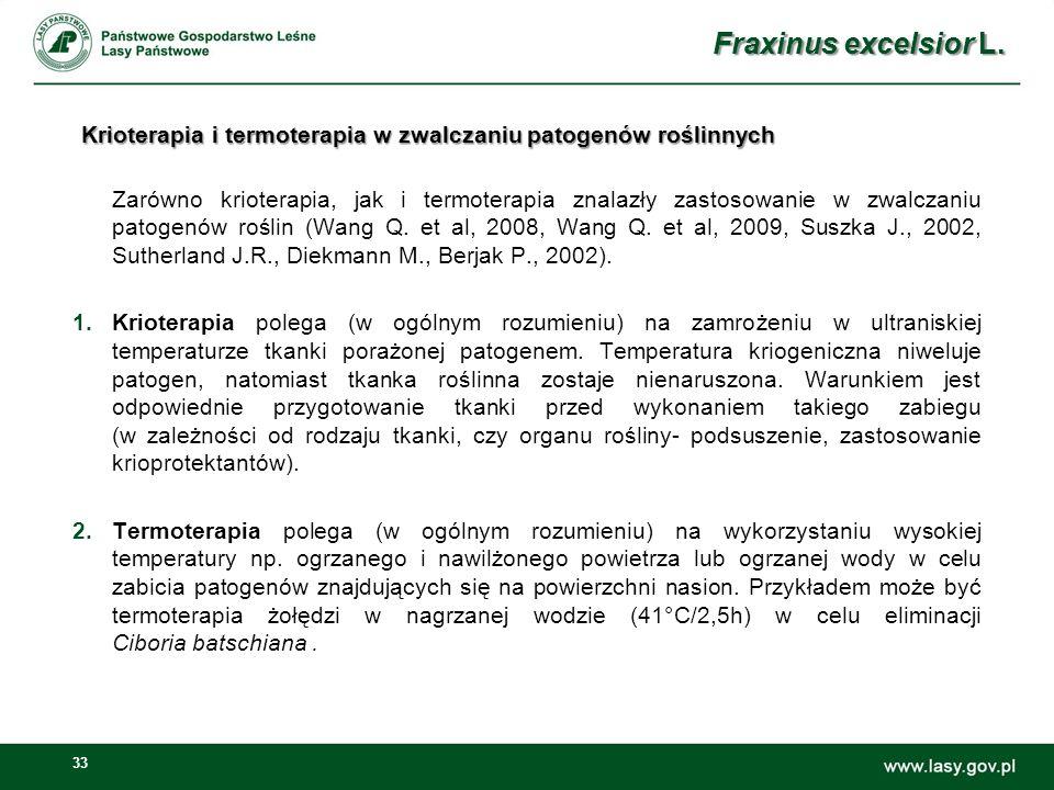 33 Krioterapia i termoterapia w zwalczaniu patogenów roślinnych Zarówno krioterapia, jak i termoterapia znalazły zastosowanie w zwalczaniu patogenów roślin (Wang Q.