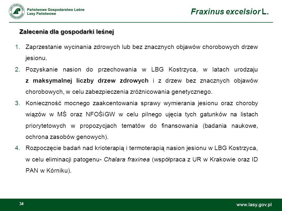 34 Zalecenia dla gospodarki leśnej 1.Zaprzestanie wycinania zdrowych lub bez znacznych objawów chorobowych drzew jesionu. 2.Pozyskanie nasion do przec