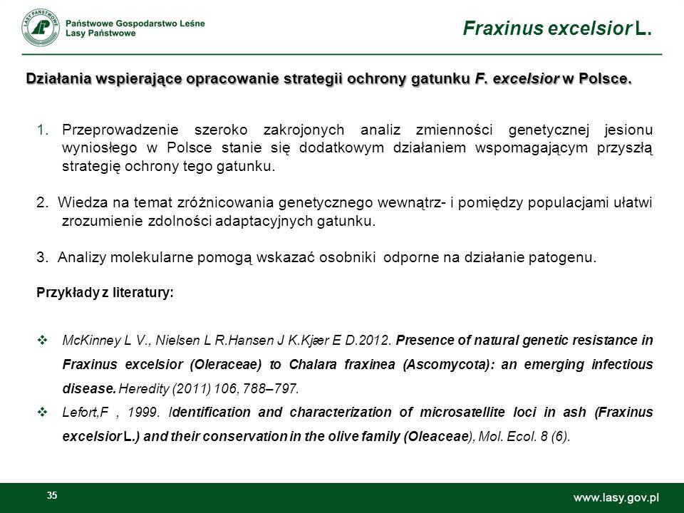 35 Działania wspierające opracowanie strategii ochrony gatunku F. excelsior w Polsce. 1.Przeprowadzenie szeroko zakrojonych analiz zmienności genetycz