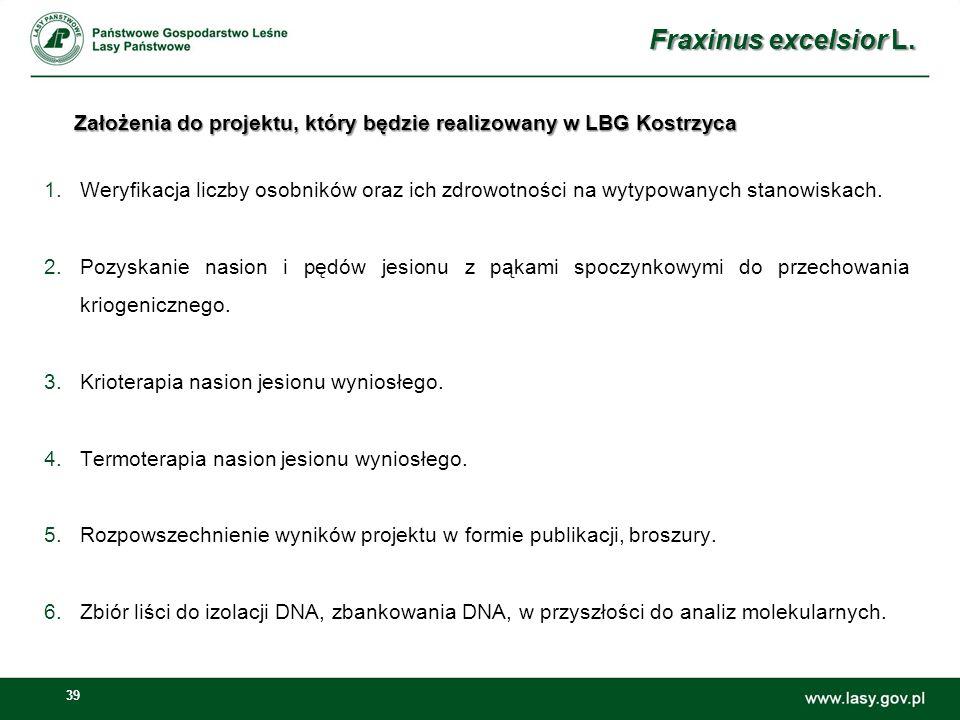 39 Założenia do projektu, który będzie realizowany w LBG Kostrzyca 1.Weryfikacja liczby osobników oraz ich zdrowotności na wytypowanych stanowiskach.