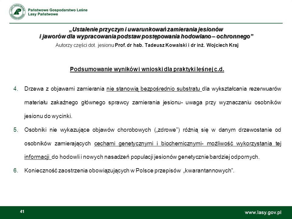 41 Autorzy części dot.jesionu Prof. dr hab. Tadeusz Kowalski i dr inż.