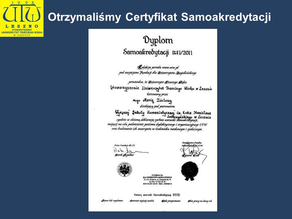 Otrzymaliśmy Certyfikat Samoakredytacji