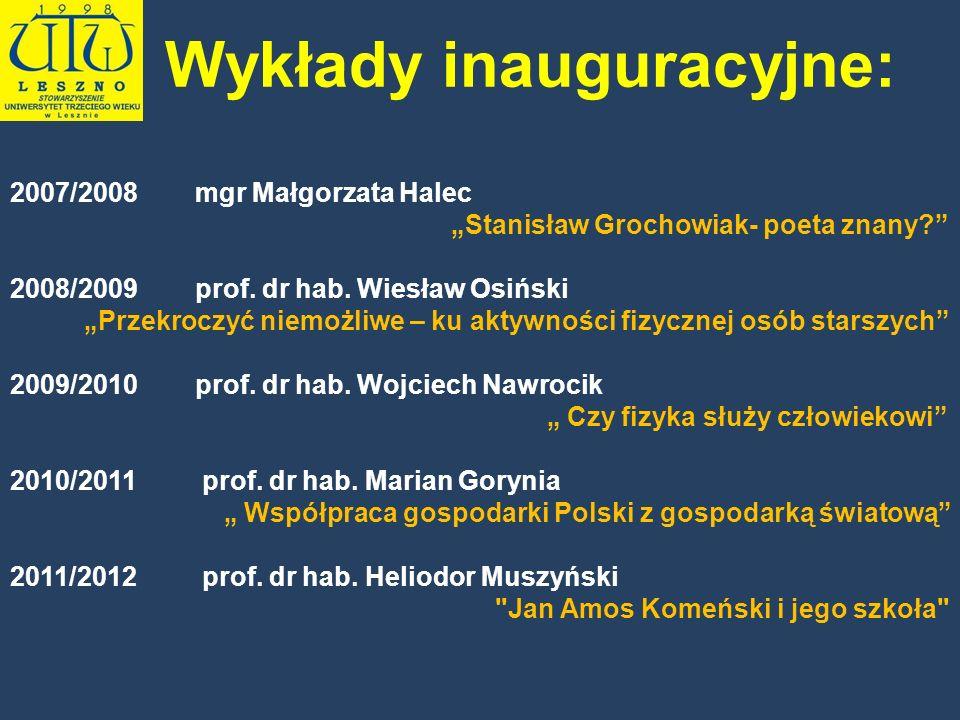 2007/2008 mgr Małgorzata Halec Stanisław Grochowiak- poeta znany? 2008/2009 prof. dr hab. Wiesław Osiński Przekroczyć niemożliwe – ku aktywności fizyc