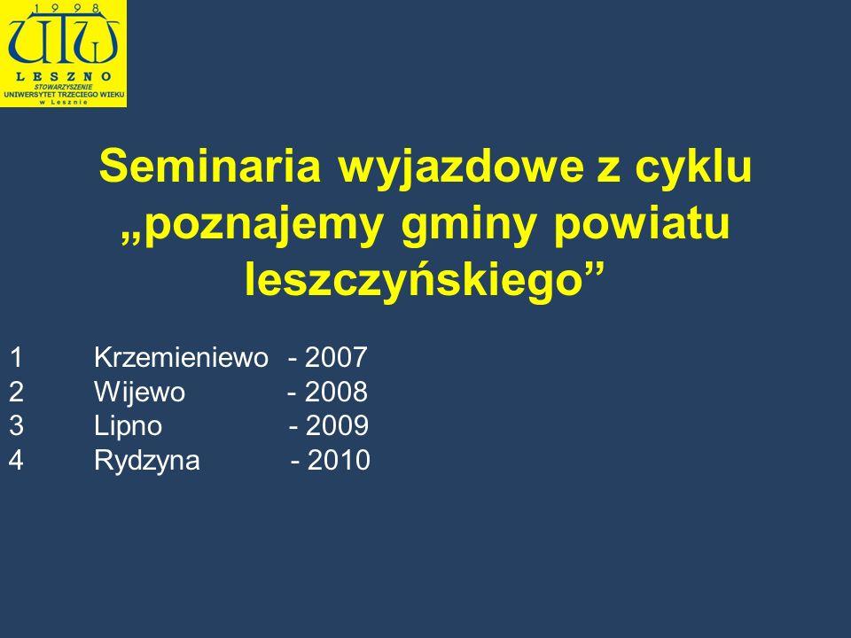 Seminaria wyjazdowe z cyklu poznajemy gminy powiatu leszczyńskiego 1Krzemieniewo - 2007 2Wijewo - 2008 3Lipno - 2009 4Rydzyna - 2010