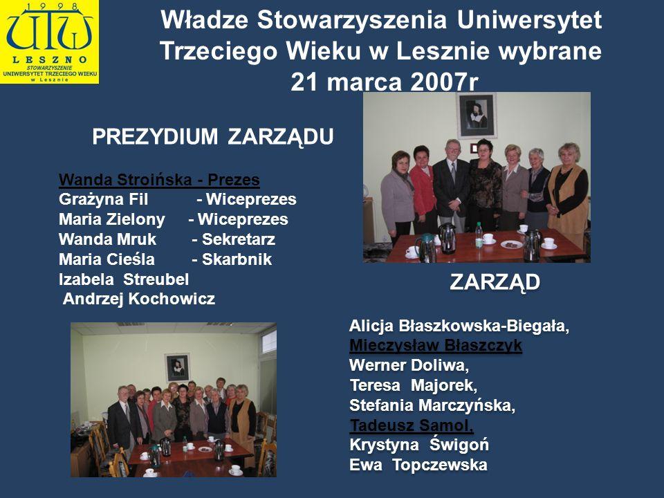 Władze Stowarzyszenia Uniwersytet Trzeciego Wieku w Lesznie wybrane 21 marca 2007r PREZYDIUM ZARZĄDU Wanda Stroińska - Prezes Grażyna Fil - Wiceprezes