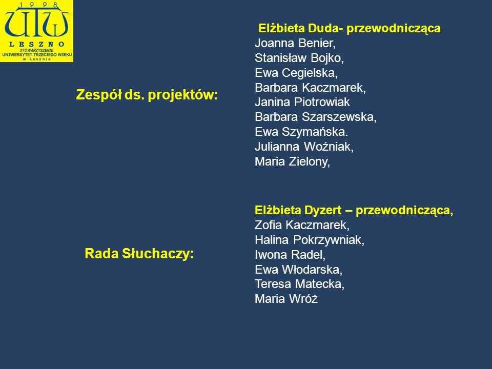 Elżbieta Dyzert – przewodnicząca, Zofia Kaczmarek, Halina Pokrzywniak, Iwona Radel, Ewa Włodarska, Teresa Matecka, Maria Wróż Elżbieta Duda- przewodni