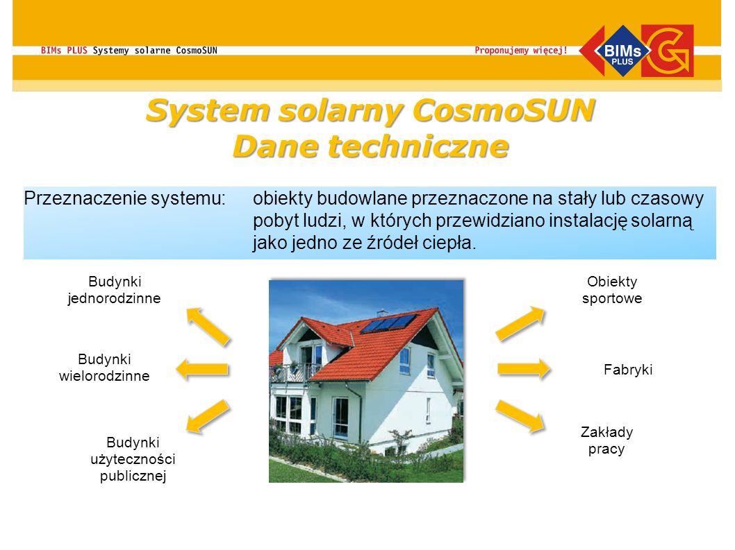 Przeznaczenie systemu:obiekty budowlane przeznaczone na stały lub czasowy pobyt ludzi, w których przewidziano instalację solarną jako jedno ze źródeł
