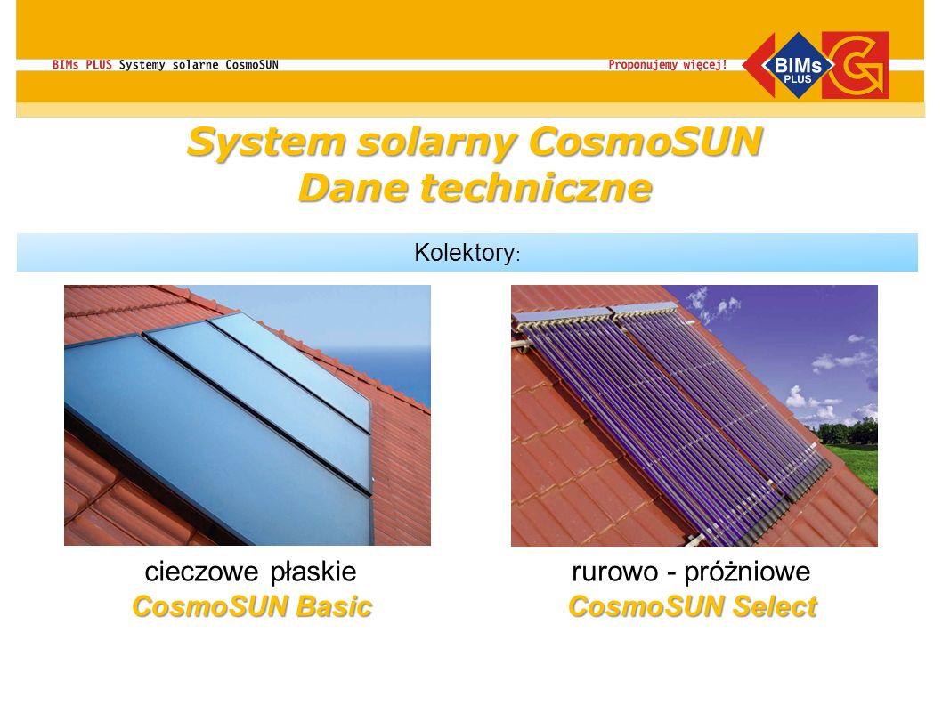 Kolektory : CosmoSUN Basic cieczowe płaskie CosmoSUN Basic CosmoSUN Select rurowo - próżniowe CosmoSUN Select System solarny CosmoSUN Dane techniczne