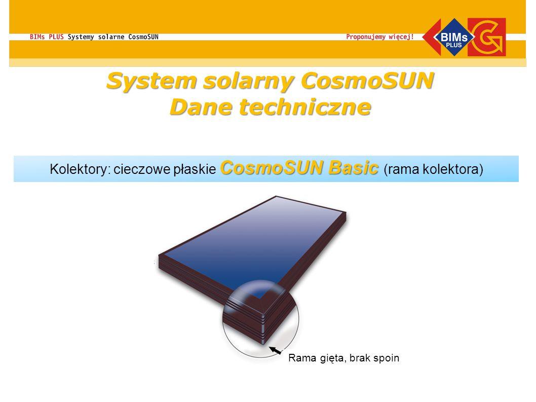 CosmoSUN Basic Kolektory: cieczowe płaskie CosmoSUN Basic (rama kolektora) Rama gięta, brak spoin System solarny CosmoSUN Dane techniczne
