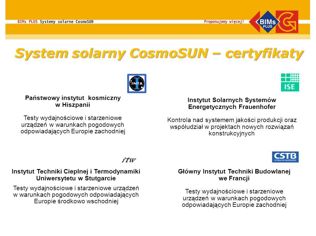 System solarny CosmoSUN – certyfikaty Główny Instytut Techniki Budowlanej we Francji Testy wydajnościowe i starzeniowe urządzeń w warunkach pogodowych