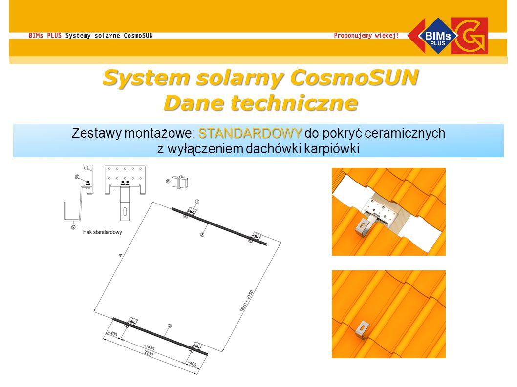 System solarny CosmoSUN Dane techniczne STANDARDOWY Zestawy montażowe: STANDARDOWY do pokryć ceramicznych z wyłączeniem dachówki karpiówki