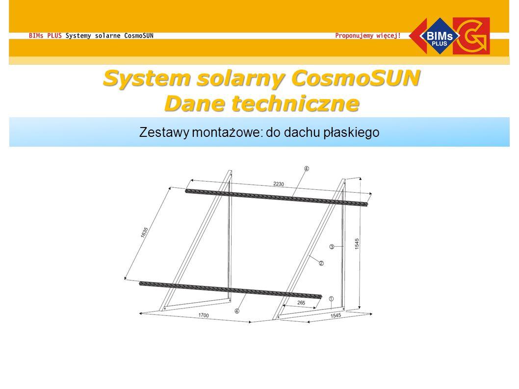 System solarny CosmoSUN Dane techniczne Zestawy montażowe: do dachu płaskiego do dachów płaskich